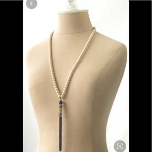 Stella & Dot Long Ivory Bead Glitter Dangle Neck